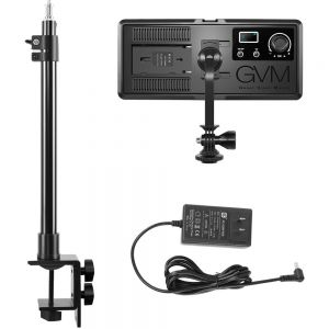 GVM On-Camera RGB LED Video Light with Bluetooth App Control and Power Supply