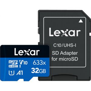 Lexar 32GB High-Performance 633x UHS-I microSDHC Memory Card with SD Adapter (2-Pack)