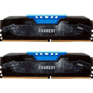 PNY - Anarchy 16GB (2PK x 8GB) 2.4 GHz DDR4 DIMM Desktop Memory Kit - Blue