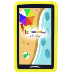 """LINSAY 7"""" Kids Funny Tablet Quad Core Bundle with Yellow Kids Defender Case Android 9.0 PIE 2GB Ram 16GB Storage"""