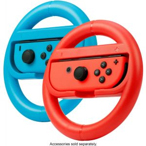 Rocketfish™ - Joy Con Racing Wheel Two Pack For Nintendo Switch - Red/Blue