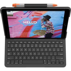 Logitech - Slim Folio Keyboard Case for Apple® iPad® (7th Generation 2019) - Graphite