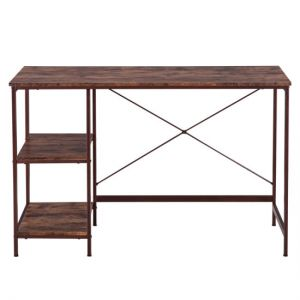 Home Office Computer Desk,Small Study Writing Desk with Wooden Storage Shelf,2-Tier Industrial Morden Laptop Table with Splice Board,47 inches