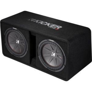 "KICKER - CompR Dual 12"" Dual-Voice-Coil 2-Ohm Subwoofers with Enclosure - Black"