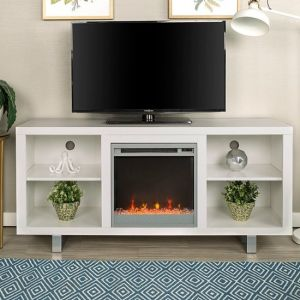 """Walker Edison - MDF Fireplace TV Console for Most TVs Up to 60"""""""