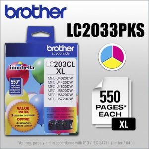 Brother - LC2033PKS XL High-Yield 3-Pack Ink Cartridges - Cyan/Magenta/Yellow - Cyan/Magenta/Yellow