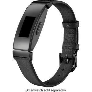 Platinum™ - Horween Leather Band for Fitbit Inspire and Inspire HR - Black