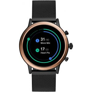 Fossil - Gen 5 Smartwatch 44mm Stainless Steel - Black with Black Stainless Steel Band