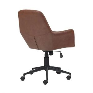 Simpli Home - Goodwin 5-Pointed Star Faux Leather Executive Chair - Matte Black/Distressed Cognac