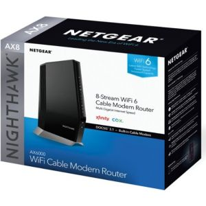NETGEAR - Nighthawk AX6000 Wi-Fi 6 Router with DOCIS 3.1 Cable Modem - Black