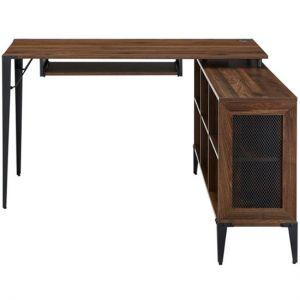 Walker Edison - L-Shaped Wood Corner Bookcase Computer Desk - Dark Walnut