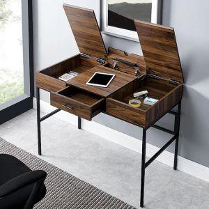 Walker Edison - Lift Top Tablet Storage Computer Desk - Dark Walnut