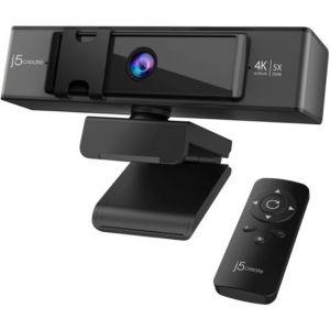 j5create - USB 4K Ultra HD Webcam with 5x Digital Zoom Remote Control - Black