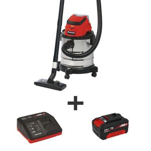 Einhell - Cordless Wet/Dry Vacuum Cleaner, Kit 3.0Ah, Power X Charger - Red