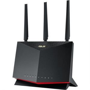Asus RTAX86U Dual Band WiFi 6 Gaming Router, 802.11ax, Mobile Game Mode, Free Internet Security, Mesh WiFi support - Black