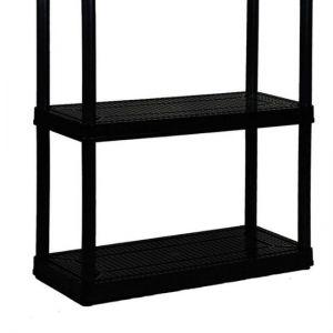 Gracious Living - 4 Shelf Tier Medium Resin Indoor and Garage Storage Shelf - Black
