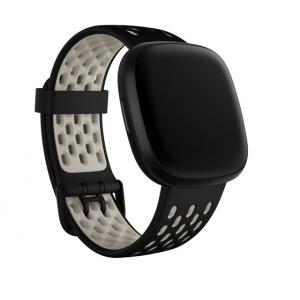 Fitbit Sport Band for Sense & Versa 3 Smartwatches (Large, Black/Lunar White)