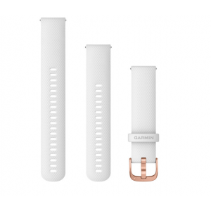 Garmin Quick Release Band (20mm, White Silicone with Rose Gold Hardware)