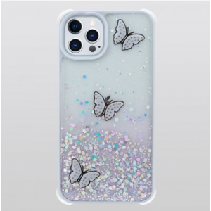Wholesale Glitter Jewel Diamond Armor Bumper Case with Camera Lens Protection Cover for Apple iPhone 13 Pro Max [6.7] (Butterfly Purple)