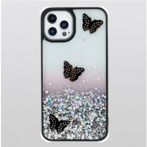 Wholesale Glitter Jewel Diamond Armor Bumper Case with Camera Lens Protection Cover for Apple iPhone 13 Pro Max [6.7] (Butterfly Black)