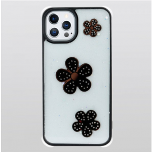 Wholesale Glitter Jewel Diamond Armor Bumper Case with Camera Lens Protection Cover for Apple iPhone 13 Pro Max [6.7] (Flower Black)