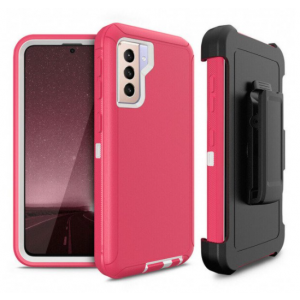 Wholesale Premium Armor Heavy Duty Case with Clip for Samsung Galaxy S21 (6.2 inch) (HotPink White)