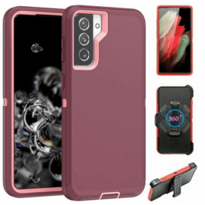 Wholesale Premium Armor Heavy Duty Case with Clip for Samsung Galaxy S21 (6.2 inch) (Burgundy Pink)