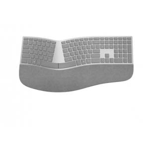 Microsoft Surface Ergonomic Keyboard Gray - Wireless - Bluetooth - QWERTY Key Layout - Made w/ Alcantara Material
