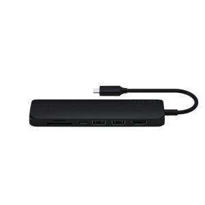 Satechi - USB Type-C Slim Multiport Adapter with Ethernet - 4K HDMI, Gigabit Ethernet, USB-C PD Charging - Black