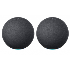 Package - Amazon - Echo (4th Gen) With premium sound, smart home hub, and Alexa - Charcoal (2 pack)