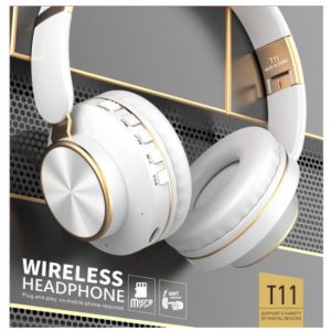 Wholesale Gold Chrome Fashion Bluetooth Wireless Foldable Headphone Headset with Built in Mic