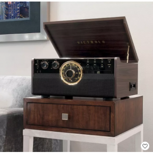 Victrola 6-in-1 Wood Empire Bluetooth Record Player with 3-Speed