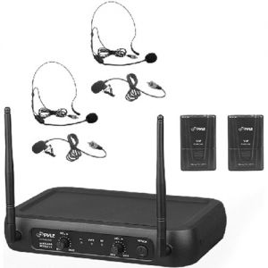 Pyle Pro PDWM2145 2-Person VHF Wireless Microphone System with 2 Lav & 2 Headset Mics (174 to 216 MHz)
