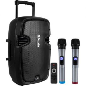 """Pyle Pro PPHP1299WU 12"""" 2-Way 1000W Portable Bluetooth PA Speaker with Two Wireless Handheld Microphones"""
