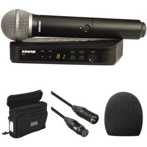 Shure BLX24/PG58 Wireless Handheld Microphone System with PG58 Capsule and Bag Kit (H9: 512 to 542 MHz)
