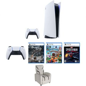 Sony PlayStation 5 Gaming Console Kit with Extra Controller, Gaming Chair, and Three Games