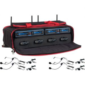 VocoPro UDH-PLAY-4-MIB 4-Channel Digital Wireless Headset/Lavalier Microphone System in a Bag (900 MHz)