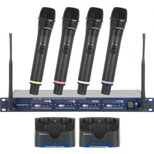 VocoPro UHF-5805-9 Professional Rechargeable 4-Channel UHF Wireless Handheld Mic System (9A, 9B, 9C, and 9D Bands)