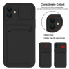 Wholesale Silicone Card Slot Holder Sleeve Case with Camera Lens Protector Cover for Apple iPhone 12 Pro Max (Black)