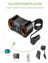 Wholesale Car Charger, Car Cigarette Lighter Socket Splitter Power Adapter Outlet USB Charger Support Voltmeter (A